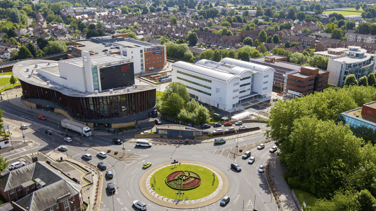 Aerial view of Aylesbury campus and town