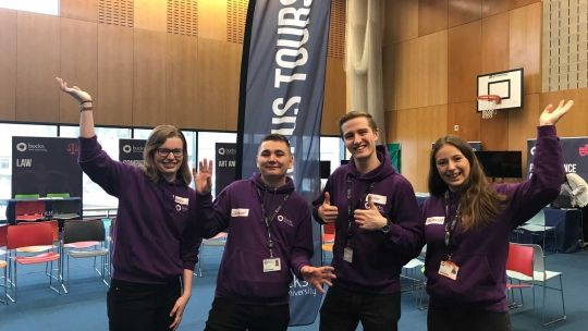 Group of four Student Ambassadors at an Open Day