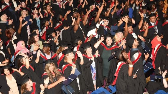 Crowd of students wearing their Graduation gowns
