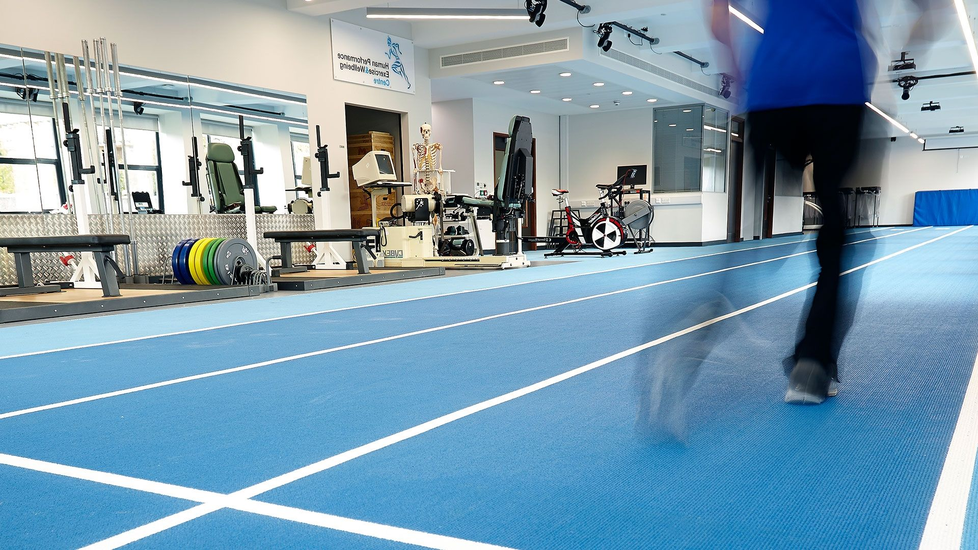 Indoor blue running lanes
